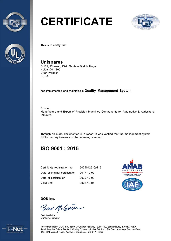 Unispares India ISO 9001- 2015